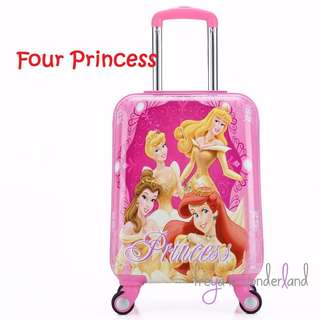 Four Princess Mermaid Ariel Beauty & The Beast Belle Snow White Sleeping Beauty 18 Inch Kids Luggage Suitcase Cartoon Design Gift Idea