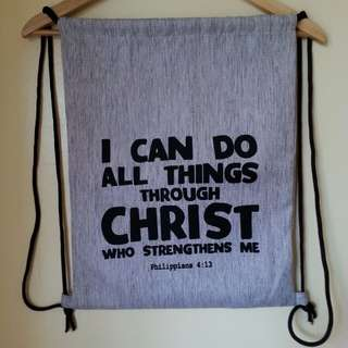 Drawstring Canvass Bag with Bible verse