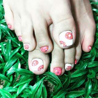 Gel pedicure and Nail art