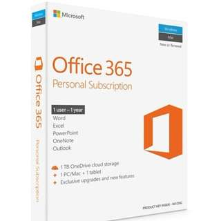 Microsoft Office 365 -Personal-1 User/ 1 year
