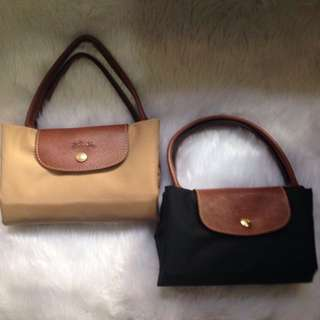 Auth Long Champ Le Pliage Tote Bag with FREE Bucket Bag (sg brand)