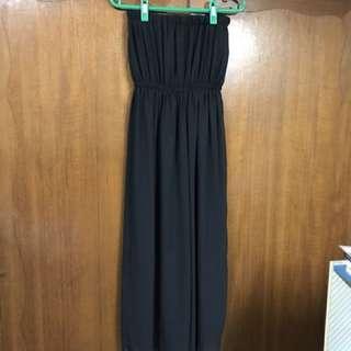黑色平口洋裝