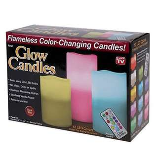 Glow Candles Flameless Color Changing Pillars