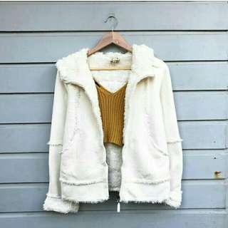 Fleece hooded white winter coat
