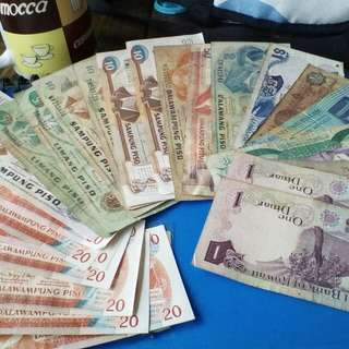 Old peso and foreign bank notes