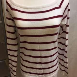 🚚 全新出清酒紅色條紋上衣