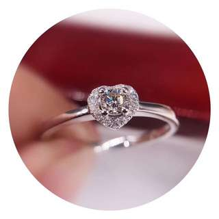 18k白金鑽石圍一心形戒指❤️全新聖誕節禮物生日紀念日