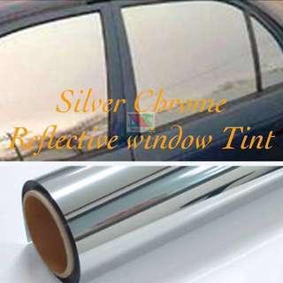 Silver Chrome window solar film