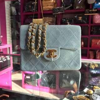 Chanel Vintage 粉藍色麂皮 Mini Flap 17cm