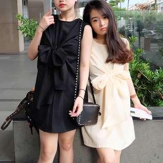 Ribbon Tied Dress ( ada cream & black, jual pisah )
