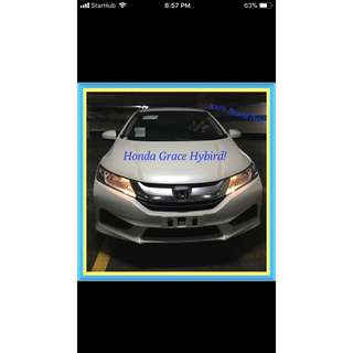 HONDA GRACE HYBRID 1.5A! Brand New! 18% Off Petrol Card! can Drive for Uber/Grab/Sixtnc! Flexible Rental Scheme! Personal User! Call Now!