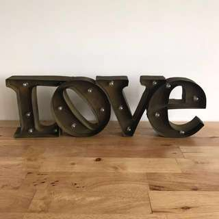 Rustic LOVE light decor marquee sign