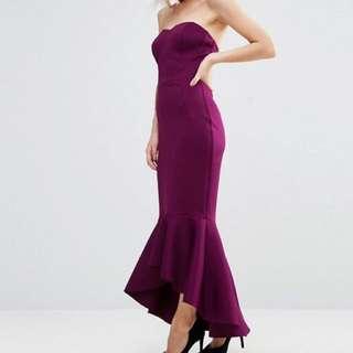 低胸靚料紫紅色晚裝裙 全新 graddin party wedding dress