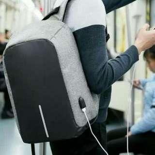 Tas Ransel +USB Port Charger Smart Backpack - Tas Anti Air Anti Maling