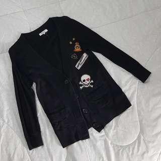 Cardigan jaket outer black hitam import