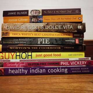 Lot of healthy cookbooks: Jamie Oliver, David Rocco, Indian and gluten free