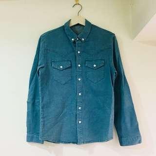 100%純棉碧綠特別色超挺單寧長袖襯衫