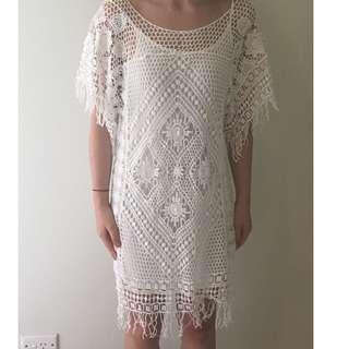 White Beachy Crochet Dress