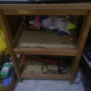 Meja TV, meja dispenser, lemari buku, kipas angin