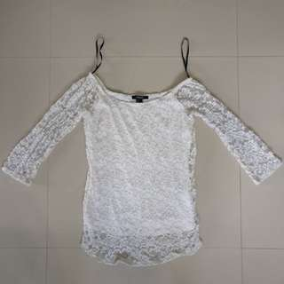 F21 white laced top