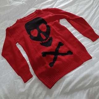 women sweater outer red skull jaket merah rajut christmas xmas imlek