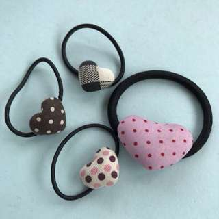 Girls heart hair ties