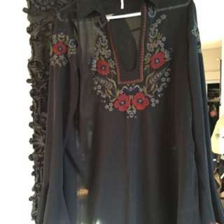 Free people sheer embroidered blouse