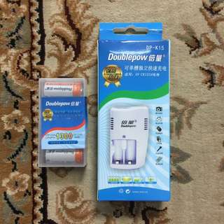 Rechargeable CR123A Set ( One Charger Two battery ) Rechargeable CR123A Battery CR 123A CR123 A CR-123A