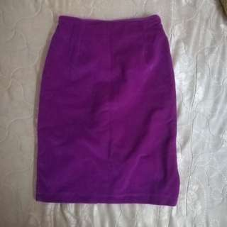 Velvet bodycon purple skirt