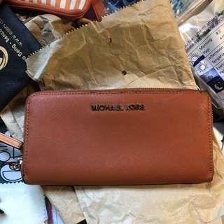 Used Michael Kors Orange ladies long wallet