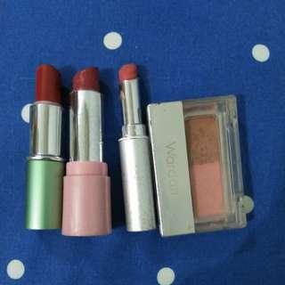 Lipstik wardah pixy dan blush on
