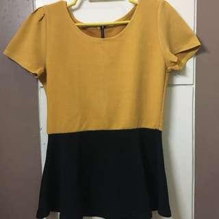 Yellow and Black Peplum Blouse
