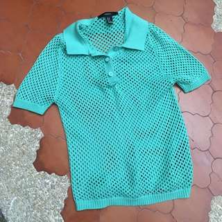 Forever 21 Mint Green Knitted Tennis Polo