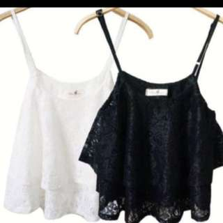 Lace Spag Top in White