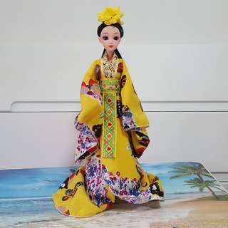 CHINESE TRADITIONAL DOLL YELLOW BUTTERFLY
