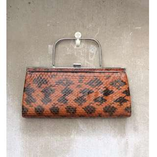 Skin&Moss 復古古董vintage橘黑花紋真蛇皮革碎花紋手提包手拿包晚宴包