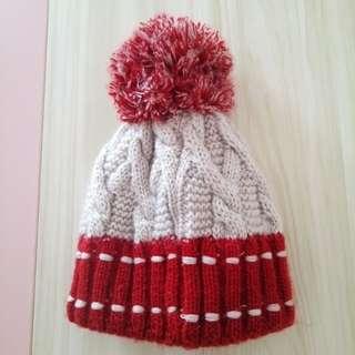 紅x白 經典款毛帽