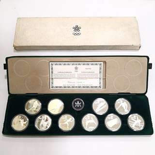 1988 Canada Winter Olympic set of 10 silver coins set