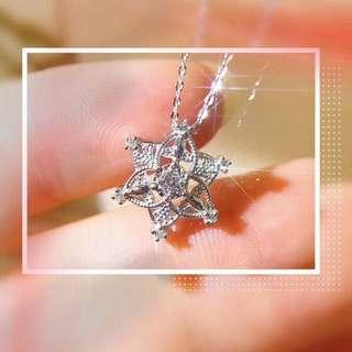 18k白金鑽石冬日限定雪花頸鏈❄️全新設計聖誕節情人節生日禮物