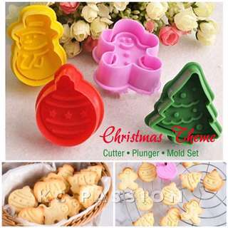🎄CHRISTMAS THEMED CUTTER PLUNGER MOLD SET[Xmas Tree • Gingerbread Man • Xmas Ball • Snowman]  Cake Decorating Tool for Cookies • Fondant Cakes and Cupcakes • Bread Dough • Pastry • Sugar Craft • Jelly • Gum Paste • Polymer Clay Art Craft