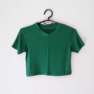 + Green High Neck Crop Top