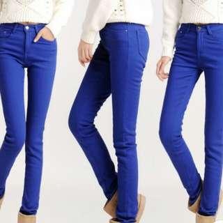鉛筆褲直筒褲寶藍色