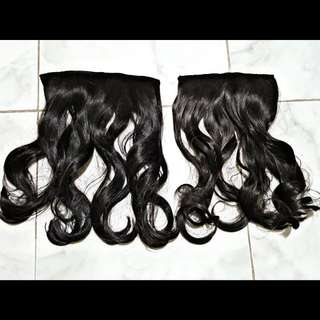 Black clip-on thick curly hair extension