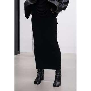 VM 秋冬 原創暗黑系 超長 百搭時尚 鬆緊腰厚款針織彈力包臀長裙