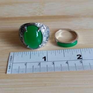 隻馬來玉 金屬戒指, 18乘14 蛋面 內徑 20mm, 16成4mm彎月型 內徑17mm