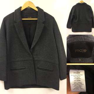 Maje gray with leather jacket size 36