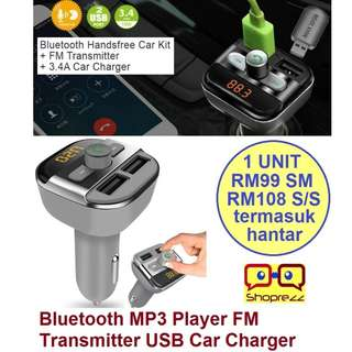 Bluetooth MP3 Player FM Transmitter USB Car Charger 3.4A