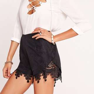 Missguided lace hem shorts