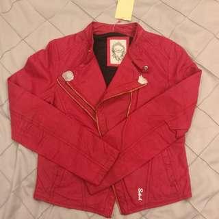 Salad 粉紅色 皮褸 皮外套 短身 修身