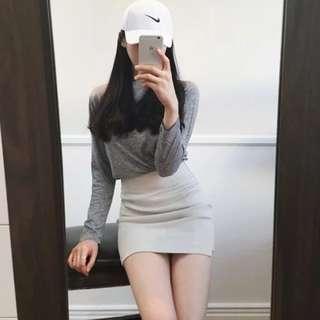 Elastic High Waist Plain Pencil Skirt
